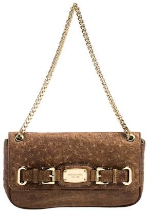 MICHAEL Michael Kors Brown Embossed Ostrich Leather Flap Shoulder Bag