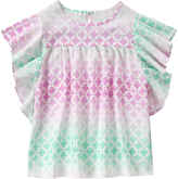 Crazy 8 Mint & Pink Ombré Geometric Ruffle Top - Girls