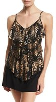 Magicsuit Rita Metallic Tiered Tankini Swim Top, Black/Gold, Plus Size