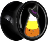 Body Candy Black Acrylic Witch Hat Candy Corn Halloween Saddle Plug Pair 5/8""