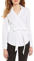 Ivanka Trump Embellished Collar Side-Tie Wrap Blouse