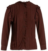 Masscob Ruffled checked gauze blouse