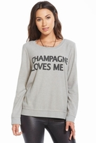 Chaser LA Champagne Loves Me Long Sleeve Panel Tee in Platinum