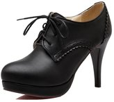 ENMAYER Women's Spring Autumn Lace Up PU High Heeled Platform Pumps Shoes5.5 B(M) US
