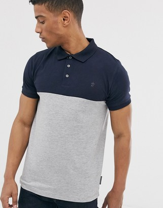 French Connection organic cotton polo in colour block grey