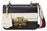 Gucci Queen Margaret Stripe Leather Shoulder Bag - Black