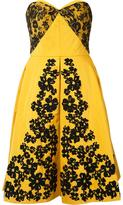 Oscar de la Renta lace embroidered strapless dress