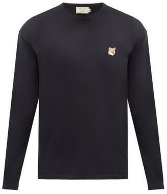 MAISON KITSUNÉ Fox Head-patch Cotton-jersey Long-sleeved T-shirt - Black