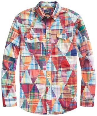 Polo Ralph Lauren Long-Sleeve Patchwork Madras Sport Shirt