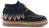 Ocra Suede Lace-Up Boots with Fringe