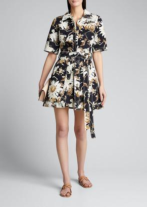 Oscar de la Renta Floral Print Cotton Day Dress