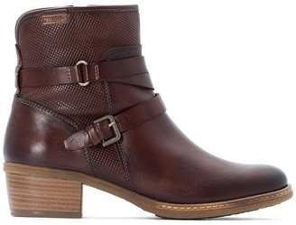 PIKOLINOS Zaragoza Leather Western Ankle Boots with Block Heel and Buckles