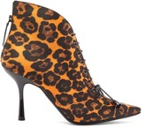 Mae Fabrizio Viti Leopard-print Lace-up Satin Ankle Boots - Womens - Leopard