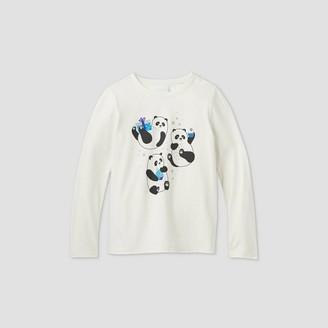 Cat & Jack Girs' ong Seeve Dreide Pandas Graphic T-Shirt - Cat & JackTM