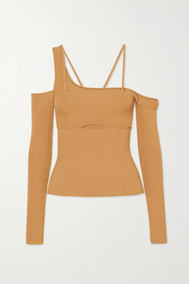 Jacquemus La Maille Cold-shoulder Ribbed-knit Top - Yellow