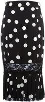 Dolce & Gabbana polka-dot pleated pencil skirt - women - Silk/Cotton/Polyamide/Spandex/Elastane - 40