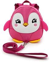 Hipiwe Baby Toddler Walking Safety Backpack Little Kid Boys Girls Anti-lost Travel Bag Harness Reins Cute Cartoon Penguin Mini Backpacks with Safety Leash for Baby 1-3 Years Old