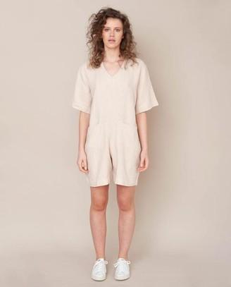 Beaumont Organic Nova Linen Jumpsuit In Bone - Bone / Extra Small