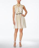 Calvin Klein Petite Striped Belted A-Line Dress