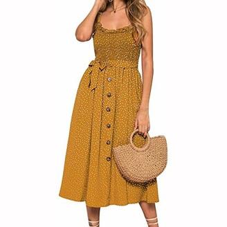 yorkyork Women Casual Long Dress Summer Sleeveless Polka Dot Beach Dresses Stretch Holiday Sundress Girl Dark Green