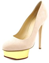 Charlotte Olympia Dolly Women Open Toe Suede Platform Heel.