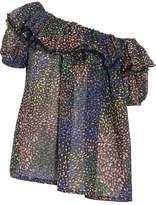 Chloé One-shoulder Ruffled Printed Cotton-blend Blouse - Blue