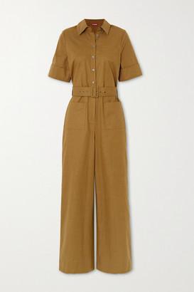 STAUD Zavey Belted Linen-blend Jumpsuit