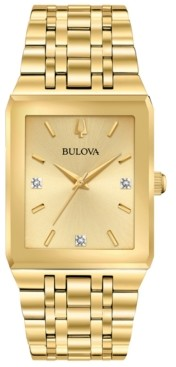 Bulova Men's Futuro Diamond-Accent Gold-Tone Stainless Steel Bracelet Watch 30x45mm