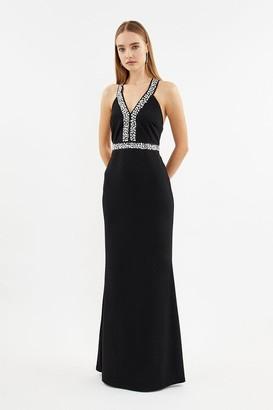 Coast Diamante Trim Plunge Neck Maxi Dress