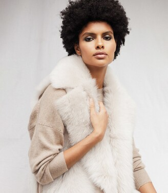 Reiss Tabitha - Shearling Gilet With Zip Detail in Neutral