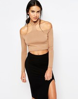 Missguided Cold Shoulder Crop Top