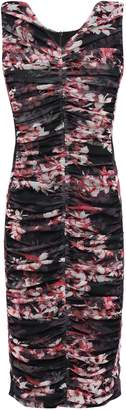 Black Halo Ruched Floral-print Tulle Sheath Dress