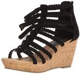 Sugar Women's Jungles Open-Toe Cork Braided Wedge with Tassels