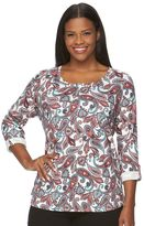Croft & Barrow Plus Size Rolled Sleeved Tee