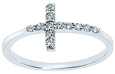 Diamonere Cubic Zirconia & Sterling Silver Pavé Cross Ring