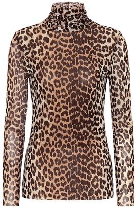 Ganni Leopard-print mesh top