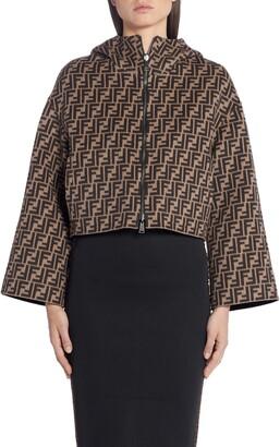 Fendi Leather Pocket Reversible FF Wool & Silk Hooded Jacket
