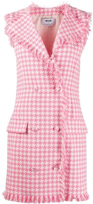 MSGM Houndstooth Frayed Double-Breasted Dress