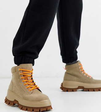 Asos DESIGN Wide Fit lace up boot in stone faux nubuck leather with chunky sole