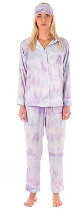 Plush Tie-Dye Pajama + Eyemask Set (Purple) Women's Pajama Sets