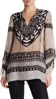 Hale Bob Long Sleeve Embellished Print Silk Tunic