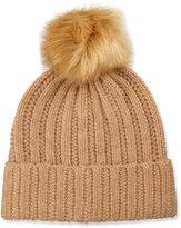 Neiman Marcus Knit Wool-Blend Pompom Hat, Camel/Natural