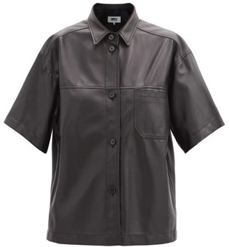 MM6 MAISON MARGIELA Panelled Short-sleeved Leather Shirt - Black