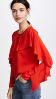 Milly Stretch Silk Cascade Sleeve Top