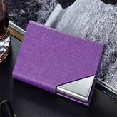 MuLier Leather Stainless Steel Business Card Holder Credit Name Card Case with Magnetic Shut