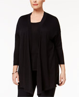 Anne Klein Plus Size Three-Quarter-Sleeve Cardigan