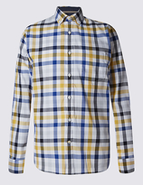 Blue Harbour Pure Cotton Block Checked Shirt