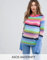 Asos Jumper With Multi Stripe And Fluted Sleeves