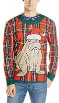 Faux Real Men's Faux Plaid Walrus Ugly Sweater Long-Sleeve T-shirt
