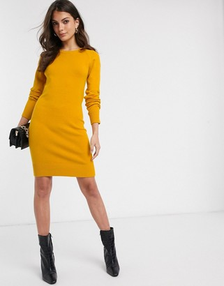 French Connection Babysoft raglan sleeve sweater dress in Calluna Yellow